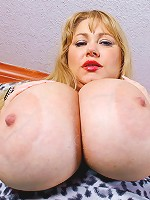 Samantha 38G is back for some hot mature BBW fun. Every ones favorite blonde plumper babe is here to get her mouth fucked and pussy stuffed with big hard cock.