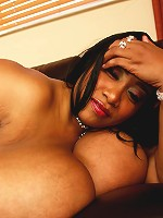 This gorgeous black bbw babe has got thee biggest tits ever on Plumper Pass. I'm talking M Cups. That's right. M CUPS!