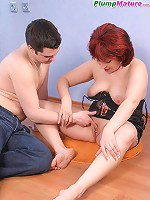 Chubby redhair mommy gets an A-style from a young fucker
