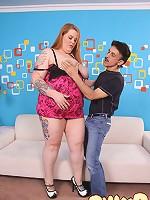 Chubby redhead babe sucks a rock-hard big dick
