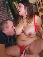Plump in red lingerie enjoys sucking big cock