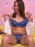 Beautiful chubby teen in blue lingerie