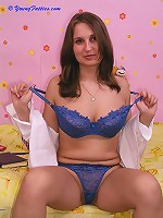 Beautiful chubby teen in blue lingerie