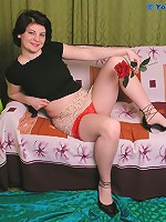 Beautiful chubby teen in red lingerie