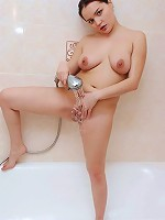 Fresh chubby candy caught masturbating in shower