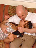 Bald daddy stretches young fat babe's snatch open