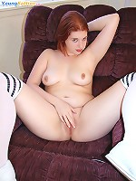 Sexy plump cheerleader gets nude and masturbates