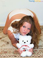 Fatty in satin panties plays with her teddy bear