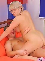 Joyful chubby blonde schoolgirl rides meaty cock