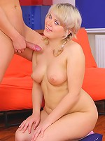 Chubby puss gets shagged and smears cum over her tits