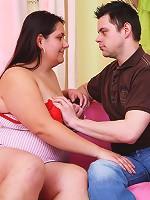 Savoring hot slutty plumper's little perky nipples