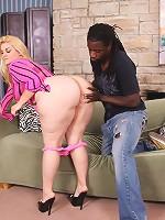 Young blonde plumper sucks a big black dick