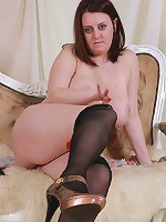 Sexy fatty without panties and on high heels