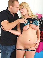 Joyful blonde chubby schoolgirl eats meaty cock