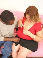Blonde fatty loving a huge black cock in her shaven slit