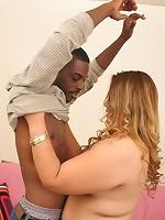 Slutty blonde fatty loving a black cock in her shaven white slit