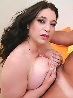 Beautiful chubby brunette having her mature pussy drilled on the couch
