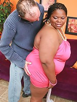 Ebony BBW gets her cunt and mouth banged