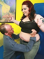 Redhead BBW having her huge knockers jizzed