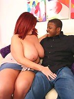 Sultry brunette bbw Peaches pleasuring a huge black wang by gulping it down her throat