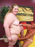 Blonde bbw Jenna playing with her huge bazooms while a cock pounds her chubby slit