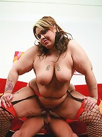Naughty bbw Tasha gobbling a cock before humping it on top and gets cum spraying in her bazooms