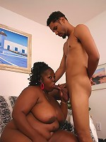Cock greedy ebony bbw Subrina passionately sucking off a cock before stuffing it in her cooze