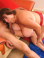 BBW Mercy gobbling a thick cock and takes it deep into her pussy by riding it on top