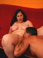 Brunette BBW model Teedra stripping off her clothes in front of her partner live