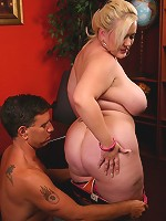 Pretty blonde BBW Bunny spreading her big fat ass while a guy pounds her fat covered cunt