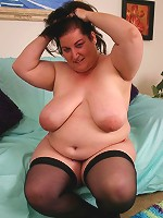 BBW Sassy naked sucking off a big black cock and gets splooged all over her chubby face