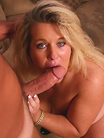 Bodacious BBW with a huge rack Jenna admiring a thick wang by slurping it and takes it in her box