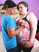 Cute fatty Angie Luv does a little striptease before she gets screwed by a horny chubby chaser