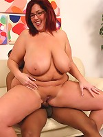 Fat redhead hottie Peaches bouncing her huge ass and plump titties on top while riding a cock