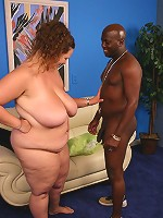Hefty Mona Mouds enjoying every moment of it while a black guy glazes her with cum