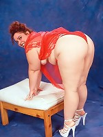 Small Titted BBW Posing Nude on Red Lingerie