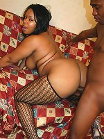 Big fat and horny ebony Niko Starr rides on top of a black cock and finish it off with a hot blowjob