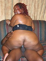 Naughty ebony BBW humping a big black dick and gets nasty cum spraying all over her face