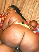 Fat ass ebony BBW taking heaps of cock pounding in her pussy and finish it off with a blowjob