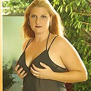 Long Haired Fat Blonde on Black Lingerie Posing Outside
