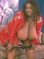 Big Black Babe Posing Massive Jugs and Pussy