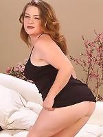 Sexy Chubby Girl Undressing Black Thong Posing