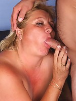 Cock starved blonde plumper Sussana sucking on a cock and dishing out her bush covered muff live