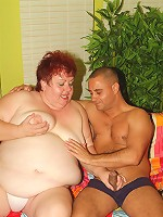 Naughty older plumper Louise straddles on top and gets cock ramming in her fatty muff live