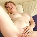 Smooth blonde older babe kinky early in the morning then dildo fucking