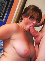 Bigger girls are always more eager to please! This babe is fleshy in all the right spots, with big, soft tits and a serious cushion for better pushin'!