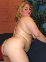 Chubby blond strips down and rides dick!