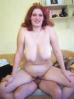 Hefty, breasty, brunette gets jizzed!
