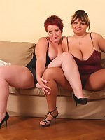 Chubby and voluptuous dolls diddle each other's twats!