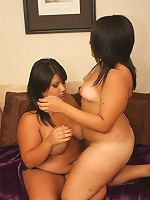 Chubby sluts lick and stuff each other's wet snatches!